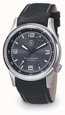 Elliot Brown Mens Tyneham zwart lederen zwarte wijzerplaat display caseback 305-D05-L15