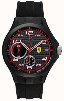 Scuderia Ferrari Mens rondetijd zwarte rubberen band zwarte wijzerplaat 0830290