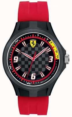 Scuderia Ferrari Mens pit bemanning rode rubberen band zwarte wijzerplaat 0830282