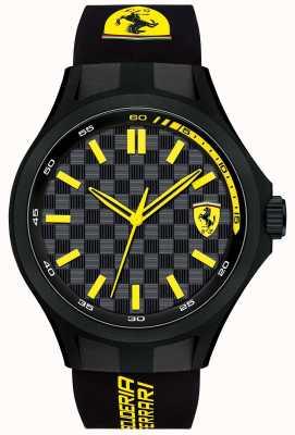Scuderia Ferrari Mens pitcrew zwarte rubberen band zwarte wijzerplaat 0830286