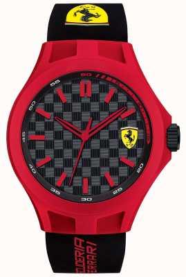 Scuderia Ferrari Mens pitcrew zwarte rubberen band rood geval zwarte wijzerplaat 0830287