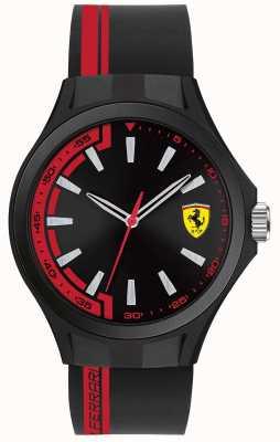 Scuderia Ferrari Mens pit crew zwarte rubberen band zwarte wijzerplaat zwarte hoesje 0830367