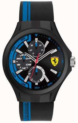 Scuderia Ferrari Mens pit crew zwarte rubberen band zwarte wijzerplaat 0830368