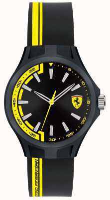 Scuderia Ferrari Mens kuilbemanning zwarte rubberen band zwarte wijzerplaat zwarte case 0840012