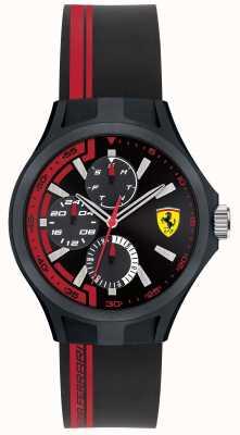 Scuderia Ferrari Mens pitcrew zwart rubber zwarte wijzerplaat 0840013