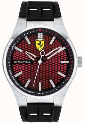 Scuderia Ferrari Mens Spéciale zwart rubberen band rode wijzerplaat 0830353