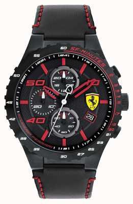 Scuderia Ferrari Mens Spéciale evo zwart lederen band zwarte wijzerplaat 0830363