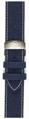 Elliot Brown Alleen Mens 22mm gewassen blauw canvas deployant strap STR-C01