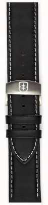 Elliot Brown Mens 22mm zwart geoliede leren inzetband alleen STR-L02