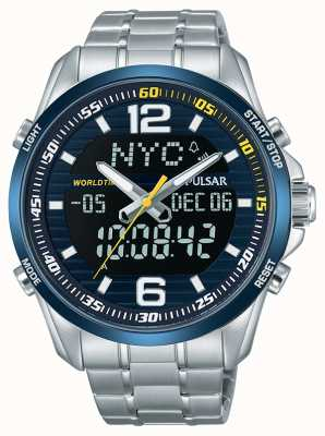Pulsar Mens accelerator wrc dual time wereld tijd alarm chronograaf PZ4003X1
