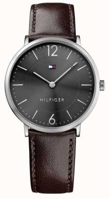 Tommy Hilfiger Mens James Brown lederen band zwarte wijzerplaat 1710352