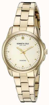Kenneth Cole Vrouwen gouden toon roestvrij staal zilveren wijzerplaat KC10026480