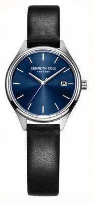 Kenneth Cole Vrouwen zwart lederen riem blauwe wijzerplaat KC10030839