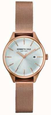 Kenneth Cole Womens rooskleurige roestvrijstalen mesh zilveren wijzerplaat KC10030842