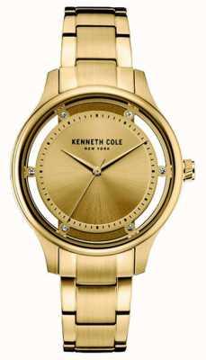 Kenneth Cole Vrouwen gouden toon roestvrijstalen gouden wijzerplaat KC10030797