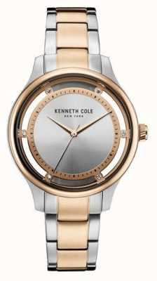 Kenneth Cole Vrouwen twee-tone roestvrijstalen armband zilveren wijzerplaat KC10030798