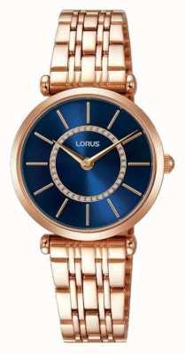 Lorus Womens rose goud tone roestvrij staal blauwe wijzerplaat RRW98EX9