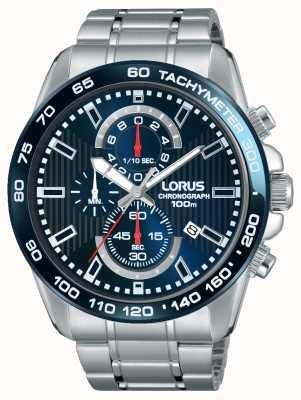 Lorus Mens chronogaph roestvrij staal blauwe wijzerplaat RM375CX9