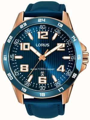 Lorus Mens blauw lederen band blauwe wijzerplaat RH908GX9