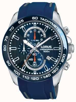 Lorus Mens blauwe rubberen band blauwe wijzerplaat RM389CX9