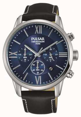 Pulsar Mens chronograaf zwart lederen band blauwe wijzerplaat PT3809X1