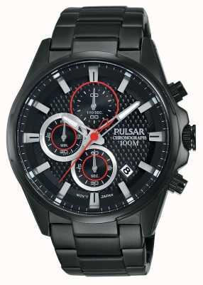 Pulsar Mens chronograaf zwart stalen armband zwarte wijzerplaat PM3065X1