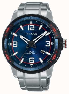 Pulsar Heren roestvrij stalen armband blauwe wijzerplaat PS9477X1