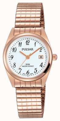 Pulsar Womens rose goud tone roestvrij staal witte wijzerplaat PH7446X1