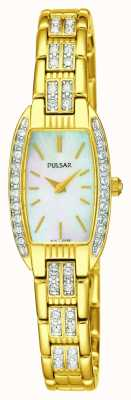 Pulsar Vrouwen goud toon roestvrij staal wit parelmoer dial PEGG76X1