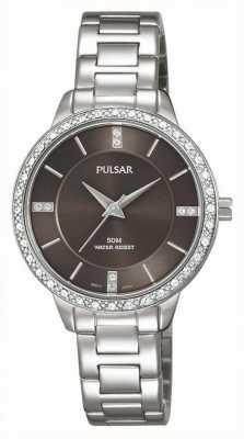 Pulsar Dames roestvrij stalen armband bruine wijzerplaat PH8215X1