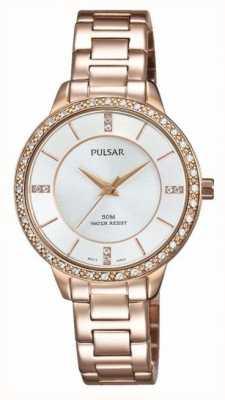 Pulsar Womens rose goud tone roestvrij staal zilverkleurige wijzerplaat PH8220X1