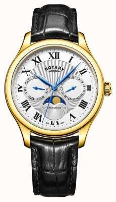 Rotary Mens maanstand zwart leer zilveren wijzerplaat goud tone case GS05066/01