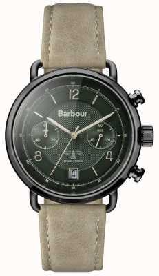 Barbour Mens salisbury kaki lederen band groene wijzerplaat BB053GRKH
