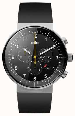 Braun Mens prestige chronograaf zwarte rubberen band zwarte wijzerplaat BN0095BKSLBKG