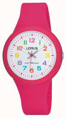 Lorus Unisex roze rubberen band witte wijzerplaat RRX49EX9