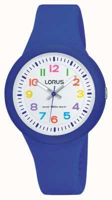 Lorus Unisex blauwe rubberen band witte wijzerplaat RRX45EX9
