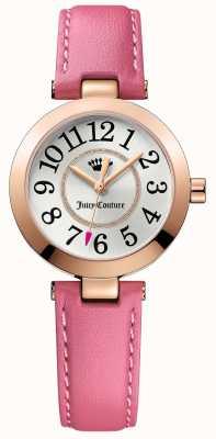 Juicy Couture Vrouwen Cali roze lederen band zilveren wijzerplaat 1901463