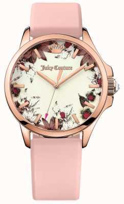 Juicy Couture Womens jetsetter roze leren riem rose goud tone case 1901485