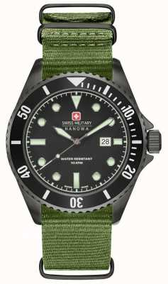 Swiss Military Hanowa Mens zeeleeuw groen nylon band zwarte wijzerplaat 6-4279.13.007