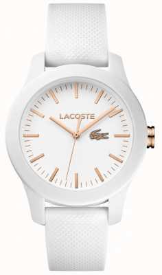 Lacoste Womens 12.12 witte rubberen band witte wijzerplaat 2000960