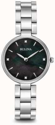 Bulova Dames roestvrij stalen armband zwarte parelmoer dial 96S173