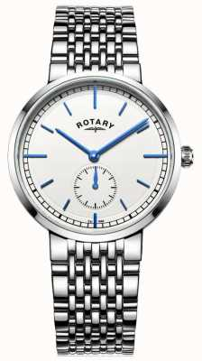 Rotary Mens canterbury roestvrij stalen armband witte wijzerplaat GB05060/02