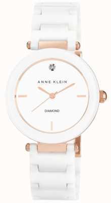 Anne Klein Vrouwen witte ceramische riem witte wijzerplaat AK/N1018RGWT