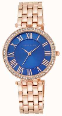 Anne Klein Vrouwen roze gouden toon armband blauwe wijzerplaat AK/N2230CBRG