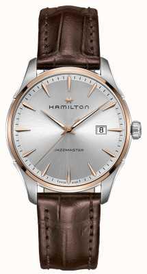Hamilton Heren jazzmaster bruin lederen band zilveren wijzerplaat H32441551