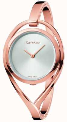 Calvin Klein Vrouwenlicht klein roosgouden toon armband zilveren wijzerplaat K6L2S616