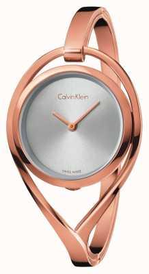 Calvin Klein Vrouwen licht middel rose goud tone armband zilveren wijzerplaat K6L2M616