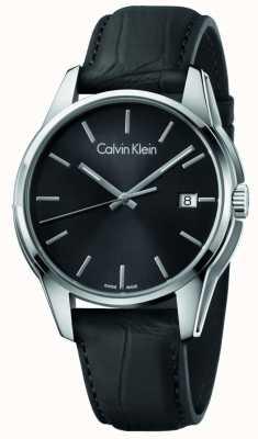 Calvin Klein Menstone zwarte leren riem zwarte wijzerplaat K7K411C1