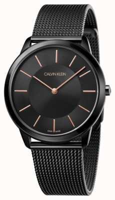 Calvin Klein Heren minimaal horloge | zwarte roestvrijstalen gaasband | K3M21421