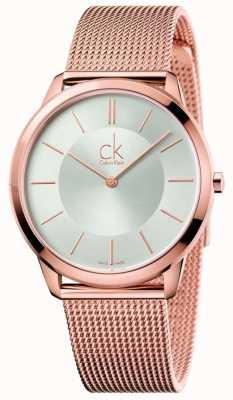 Calvin Klein Mannen minimale roosgouden toon mesh zilveren wijzerplaat K3M21626